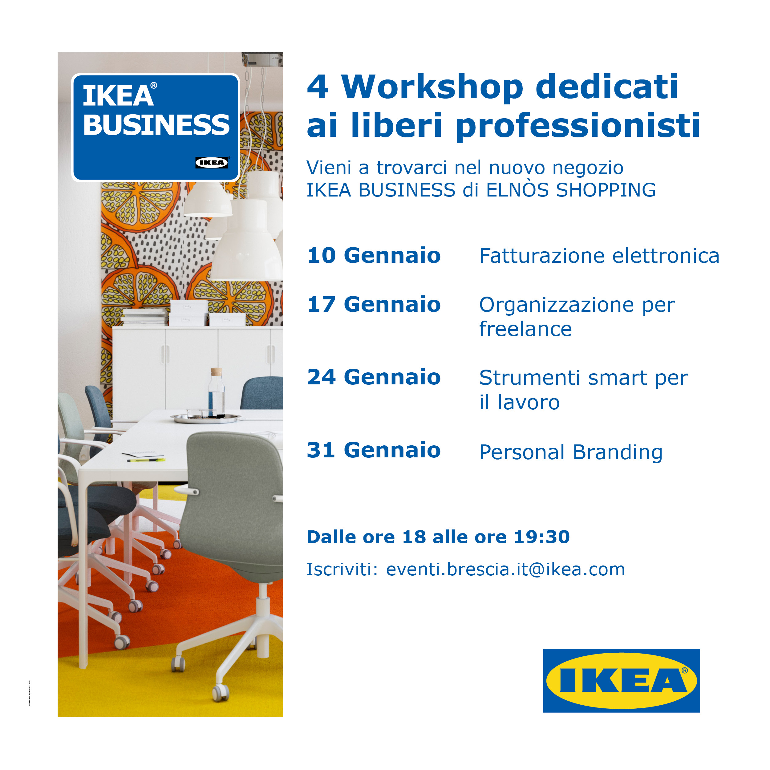 Ikea Business 4 Workshop dedicati ai liberi professionisti